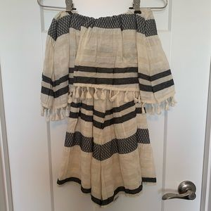 Embroidered / striped romper with tassels